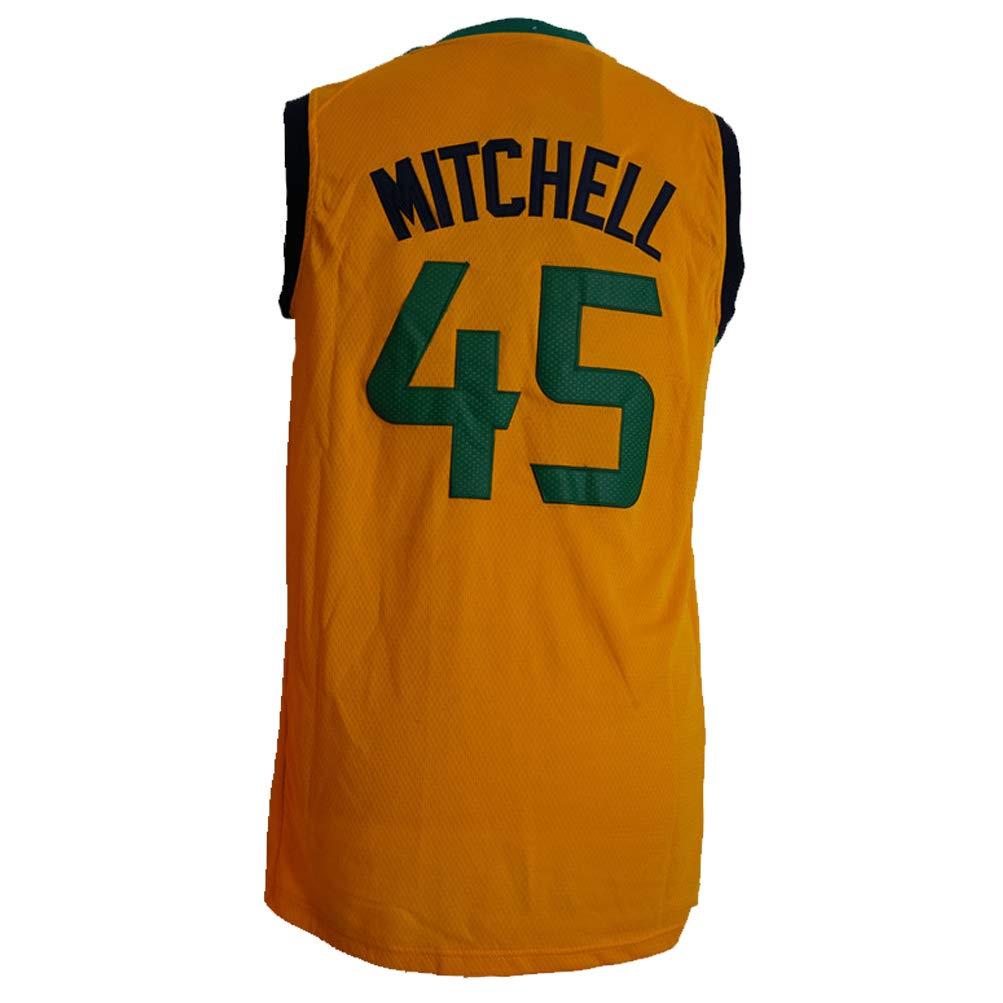 PTLBXZL Camisa Bordada Aficionados Jazz Mitchell Jersey para Hombre