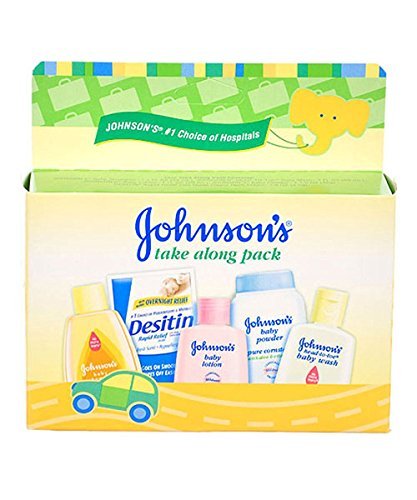 Powder Gift - Johnson & Johnson Baby Take Along Travel Pack (Baby powder, Wash, Shampoo, Lotion, Desitin)