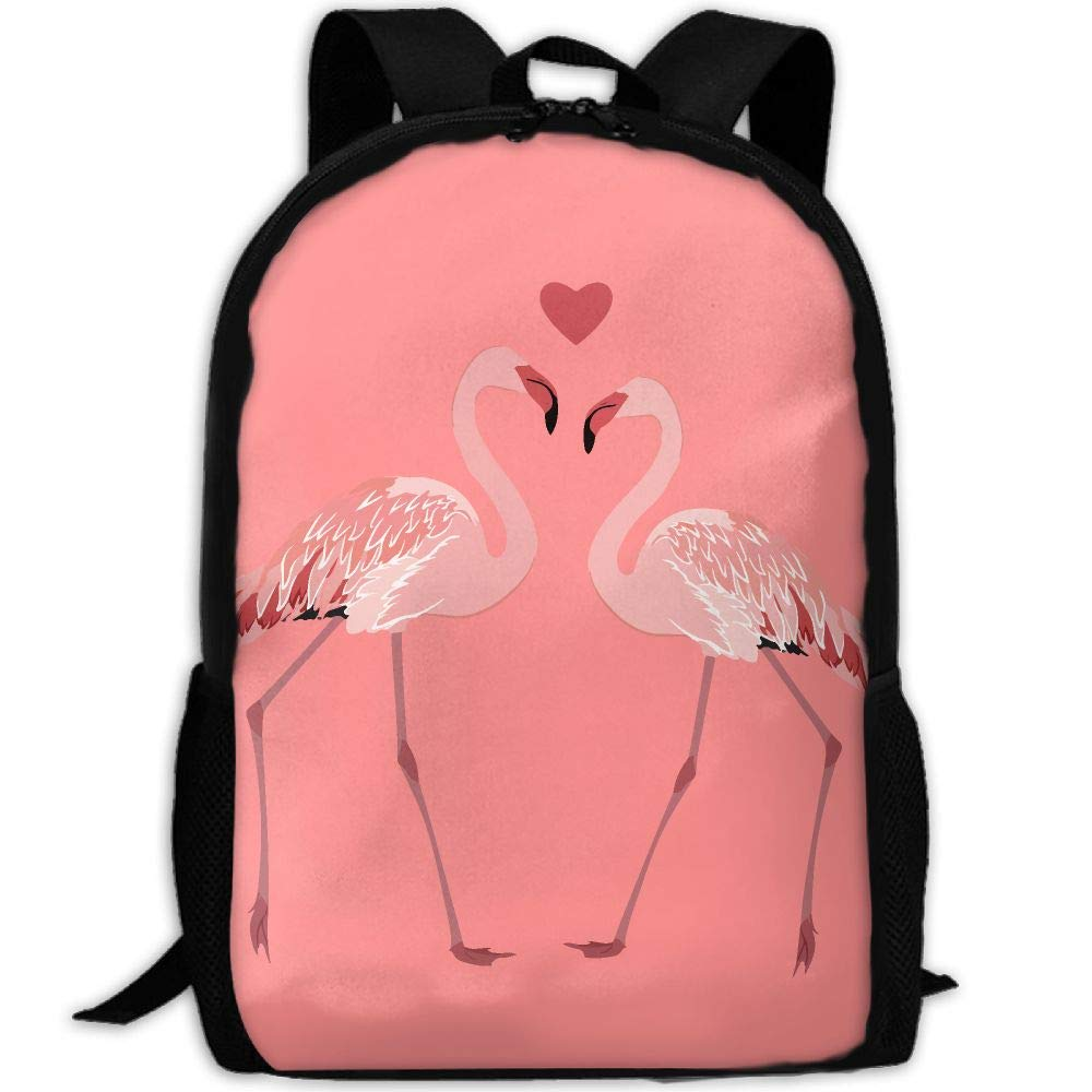OIlXKV Pink Flamingos In Love Print Custom Casual School Bag Backpack Multipurpose Travel Daypack For Adult