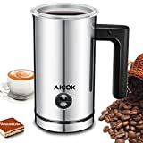 Aicok Milk Frother, Stainless Steel Electric Milk Steamer with Hot or Cold Milk, Silent Operation, Non-Stick Coating, Milk Warmer for Coffee, Latte, Cappuccino, Sil