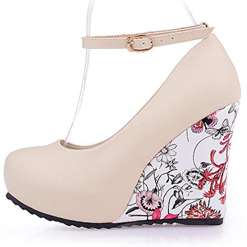 Azbro Mujer Zapato Bomba Tacón Cuña con Correas a Tobillo Beige