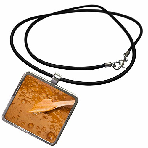 1 Light Honey Pendant - 3dRose Alexis Photography - Food Honey - Wooden spatula in a liquid honey of light brown color - Necklace With Rectangle Pendant (ncl_271879_1)