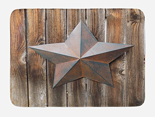 Ambesonne Primitive Country Bath Mat, Antique Rusty Star Figure on the Weathered Wooden Planks Vintage Retro Image, Plush Bathroom Decor Mat with Non Slip Backing, 29.5 W X 17.5 W Inches, Brown by Ambesonne