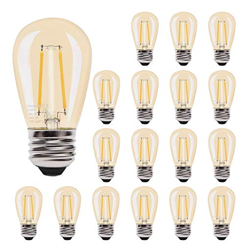 UL LED 2W S14 Edison Light Bulbs JACKYLED Dimmable 18-Pack Replacement LED Filament Bulbs 2700K Shatterproof with E26 Base Warm Lighting for Outdoor String Lights and Indoor Use