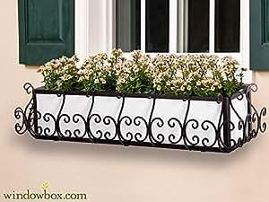 60en. San Simeon ventana caja jaula (diseño cuadrado), color negro