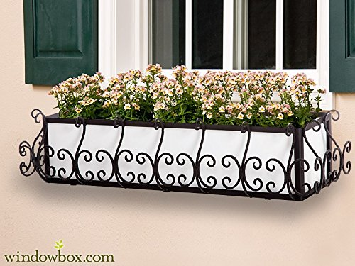 42in. San Simeon Window Box Cage (Square Design) - (Wrought Iron Window Flower Boxes)