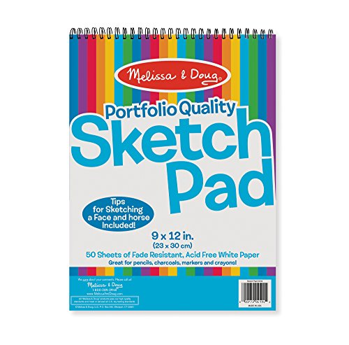 "Melissa & Doug Sketch Pad 9"" by 12"", Arts & Crafts, Fade-Resistant, Acid-Free White Paper, 50 Sheets, Single Pack, 13"" H x 9"" W x 0.5"" L"