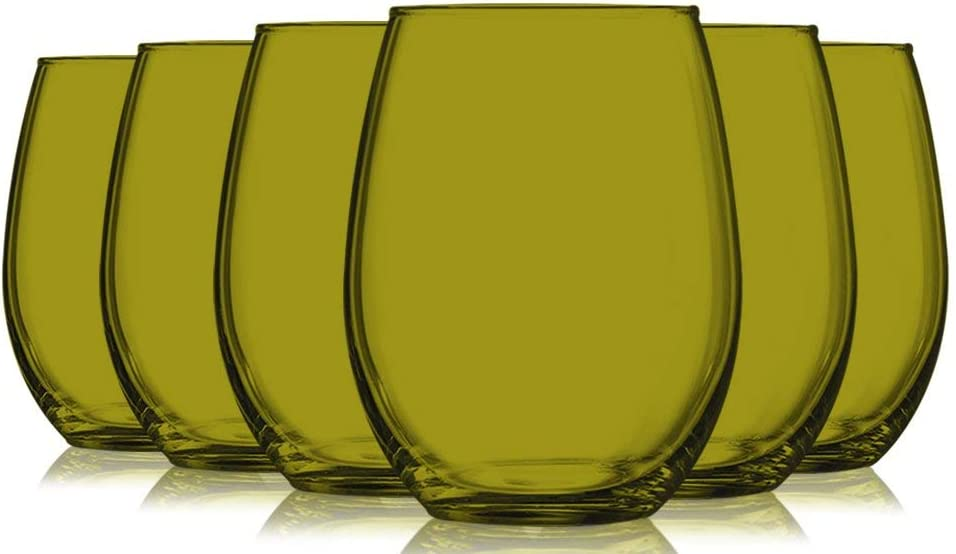 Amber Full Accent Stemless 15 oz Wine Glasses - Set of 6 by TableTop King - Additional Vibrant Colors Available