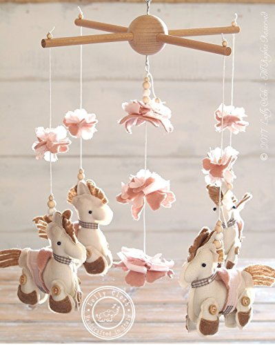 Horse Baby Mobile Hanging, Pony Mobile, Pink Nursery Decor, 2-DAY FEDEX DELIVERY to USA, Canada, Europe & Others by Lolly Cloth