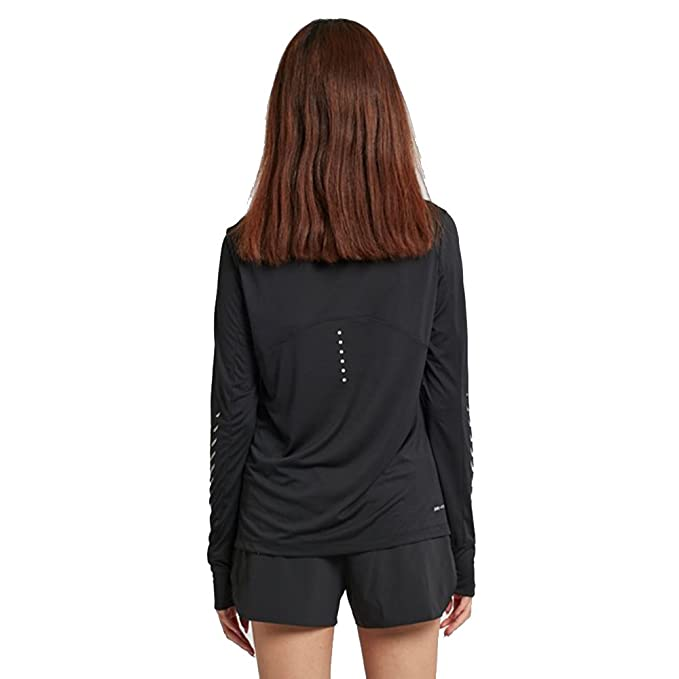 NIKE Womens Breathe Long Sleeve City Shirt Black 831665 010 at Amazon Womens Clothing store: