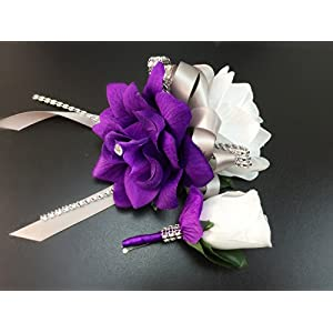2pc Set - Wrist Corsage & Boutonniere White,purple with Gray Ribbon 49