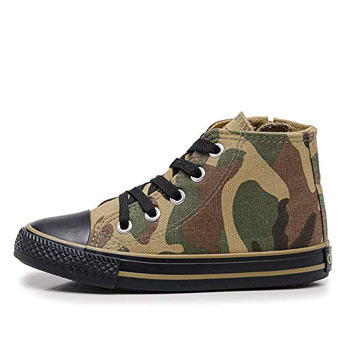 Price comparison product image YSNJL Boys Girls Camouflage Lace-Up Canvas Shoes High Top(Toddler / Little Kid / Big Kid)(Green1EU 35 / 3 M US Little Kid)