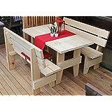 AVANTI TRENDSTORE - Set da giardino: tavolo con 2 panche in legno di abete massiccio, ca. - Tavolo: ca. 190x76,5x71,5 cm / panche: ca. 190x86x44cm
