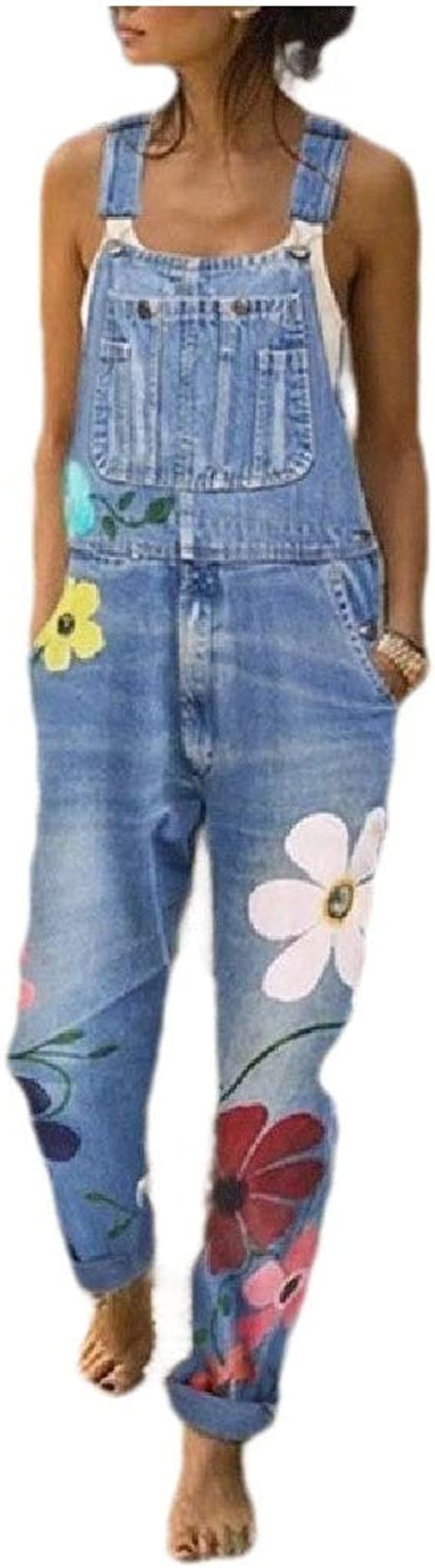 VITryst Womens Skinny Mid Waist Flower Washed Overalls Pant Jeans Jumpsuits