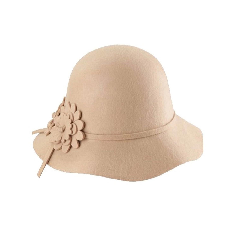 Women Girl Vogue Soft Wool Felt Ball Wide Brim Bowler Hat Cloche Cap(Camel)