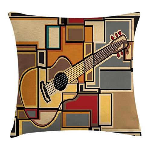 Music Decor Throw Pillow Cushion Cover by Ambesonne, Funky Fractal Geometric Square Shaped Background with Acoustic Guitar Figure Art, Decorative Square Accent Pillow Case, 18 X18 Inches, Multi