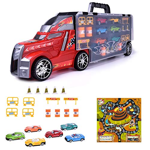 "Toy Trucks, 21"" Large Transporter Car Carrier Truck with 28 Slots, 6 Mini Race Cars with Race Map Playset & Road Block Accessories, Car Toys for Boys,Kids,Todders"