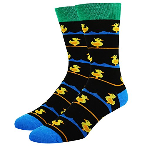 Funny Dress Socks Cute Animal Design Socks Black Crew Yellow Duck with Stripes Casual Cotton Socks for Women Men -