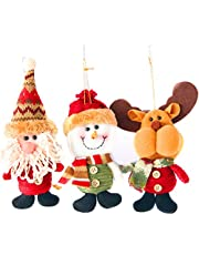 MOTYYA Plush Christmas Decor Dolls Ornaments, 3 Pack Xmas Hanging Decorations Festive Season Pendant - Santa Claus/Snowman/Reindeer for Christmas Tree Accessories Gift idea