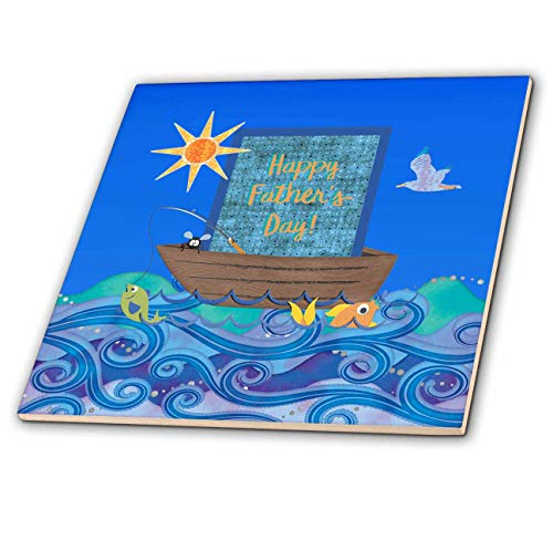 3dRose Beverly Turner Fathers Day Design - Fathers Day, Fishing Boat, Fish in the Waves, Pole, Fly, Sun, and Bird - 6 Inch Ceramic Tile (ct_313371_2)