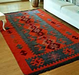 Secret Sea Collection, Modern Bohemian Style Area Rug, 5 x 8 ft, Cotton, Washable, Reversible (Charcoal Grey-Orange)