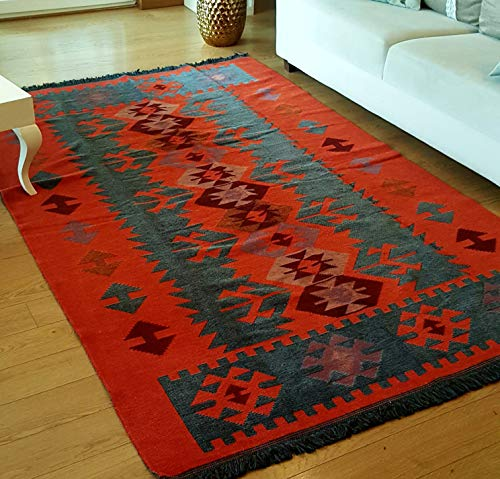 - Secret Sea Collection, Modern Bohemian Style Area Rug, 5 x 8 ft, Cotton, Washable, Reversible (Charcoal Grey-Orange)