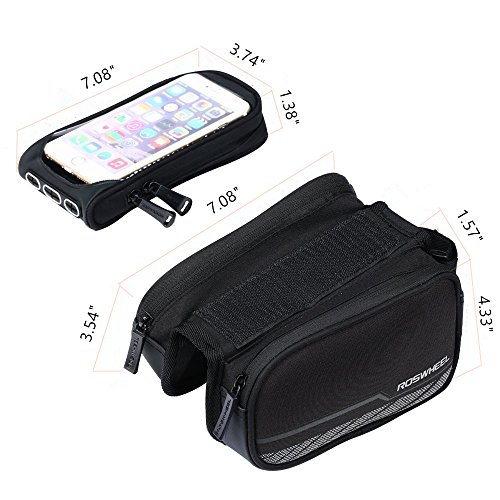 Roswheel Waterproof Cycling Road Bicycle Front Bag Top Tube Frame Storage Bag , Pannier Rack Trunks Bike Accessory with Removable PVC Touch Screen Phone Case