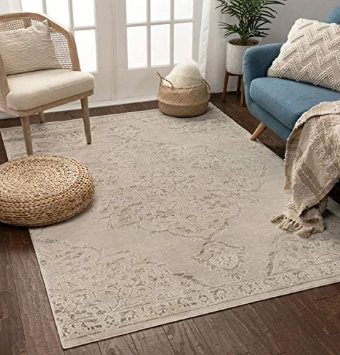 Well Woven Calla Vintage Beige Grey Distressed Oriental Medallion Area Rug 5×7 5'3″ x 7'3″