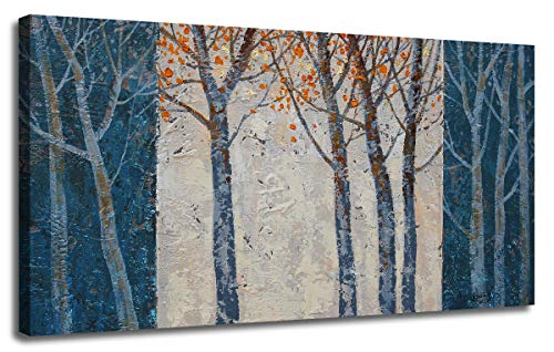 Original Contemporary Abstract Painting - Canvas Wall Art Prints Forest Tree Grey Blue Painting Contemporary Abstract Long Wood Picture Framed Ready to Hang for Living Room Bedroom Offfice Home Decor 48