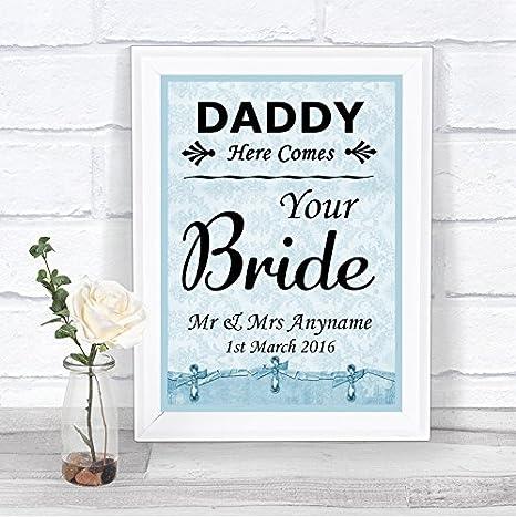 Amazon.com: Azul Shabby Chic Daddy aquí viene tu novia signo ...
