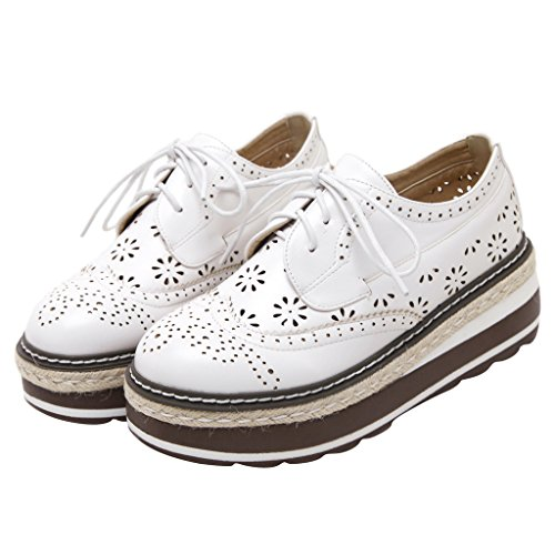 Wingtip Brogue Lace Up Platform Time Dear White Shoes Creepers Oxfords qXw0pxv