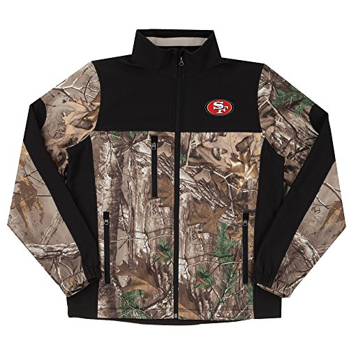 NFL San Francisco 49ers Hunter Colorblocked Softshell Jacket, Real Tree Camouflage, X-Large (San 49ers Tree Sports Francisco)