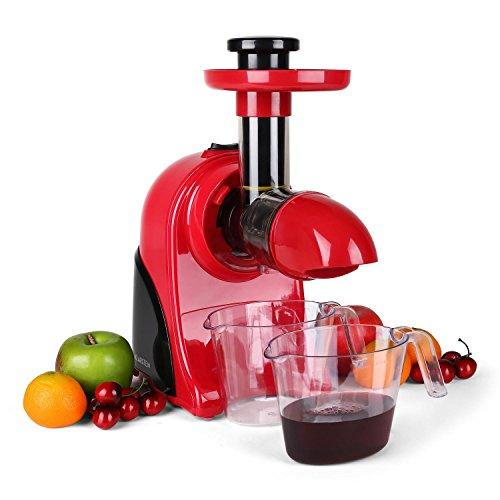 Klarstein Fruitpresso Rosso Multifunktions-Entsafter elektrisch Saftpresse 150W Saftmaschine, 80 U/min, separater Fruchtfleisch-Auffangbehälter) rot