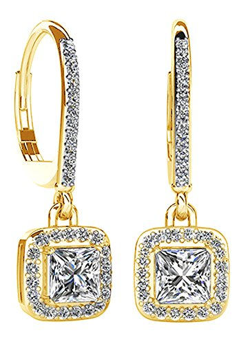 1.09 Ct Heart (Princess Shape White Natural Diamond Halo Dangle Earrings In 14K Solid Yellow Gold (1.09 Ct))