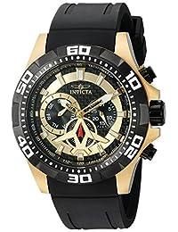 Invicta Men's 'Aviator' Quartz Stainless Steel and Polyurethane Automatic Watch, Black (Model: 21739)