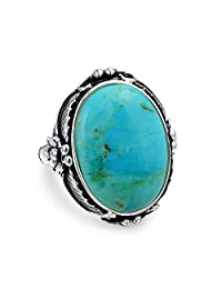 Native American Style Leaf Large Oval Gemstone Boho Stabilized Turquoise Moonstone Statement Ring For Women 925 Sterling
