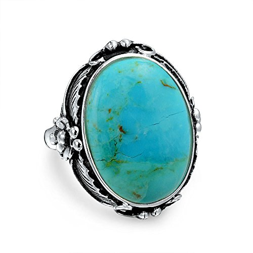 Native American Style Leaf Large Oval Gemstone Boho Stabilized Turquoise Moonstone Statement Ring For Women 925 Sterling ()
