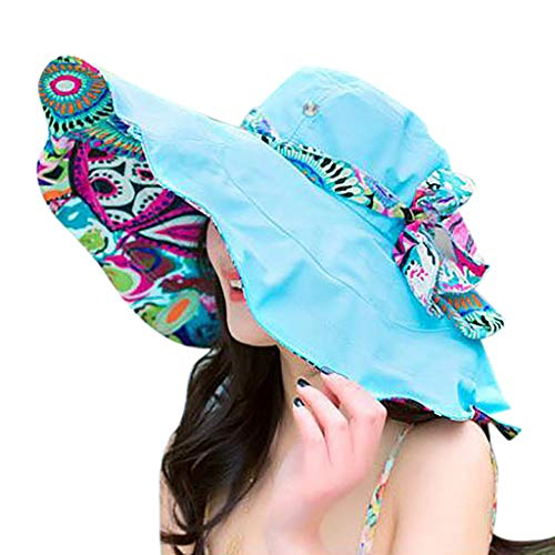 Benficial Women Printed Two-Side Big Brim Straw Hat Sun Floppy Wide Brim Hats Bow Bandage Beach Cap Blue