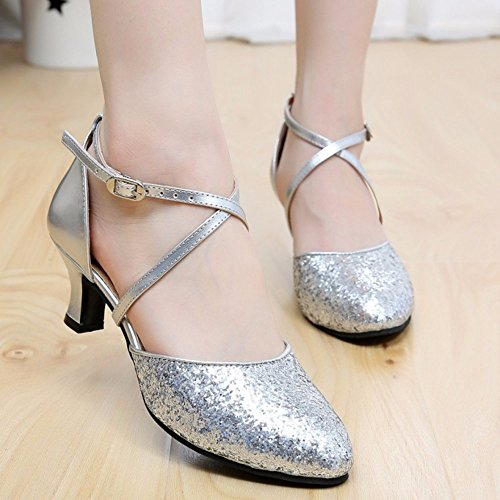 Baile Sandalias Mujer Zapatos de Plata cuadrado suave 3cm Plata Masocking inferior wqdItq