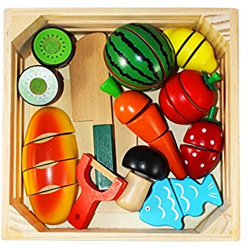 Joyin Toy Wooden Cutting Food Pretend Play Food Set