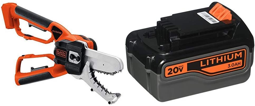 BLACK+DECKER 20V MAX Alligator Lopper Cordless Chainsaw with Lithium Battery 3.0 Amp Hour (LLP120B & LB2X3020-OPE)