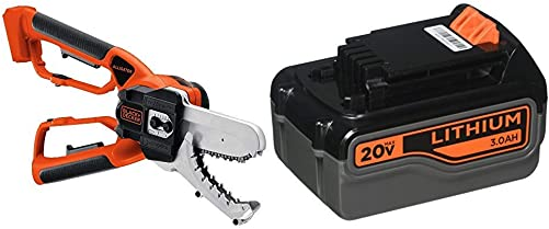 BLACK DECKER 20V MAX Alligator Lopper Cordless Chainsaw with Lithium Battery 3.0 Amp Hour LLP120B LB2X3020-OPE