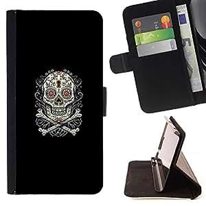 Momo Phone Case / Flip Funda de Cuero Case Cover - Azúcar Skull & Bones;;;;;;;; - LG OPTIMUS L90