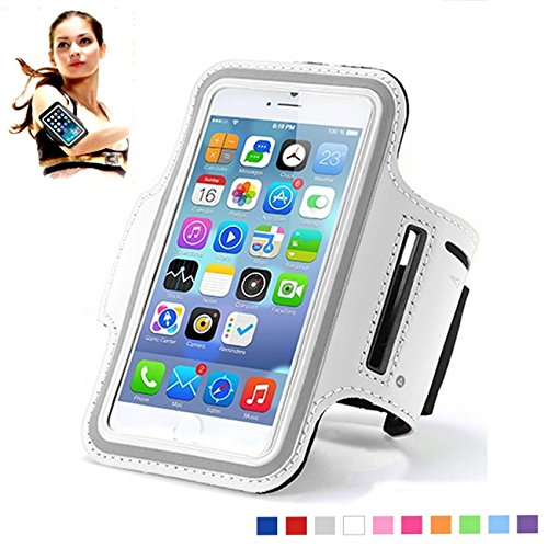 iPhone 7 Sports Armband Water Resistant Cell Phone Sporty Armband Universal Exercise Running Pouch Key Holder +Fit Most Case -Black for iPhone 8, 7, 6, 6S,(4.7 Inch )