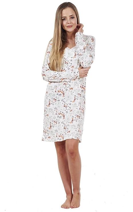 BHS Ladies Printed Cotton Nightdress Womens Long Sleeve Cami Nightie   Amazon.co.uk  Clothing 76ed53896