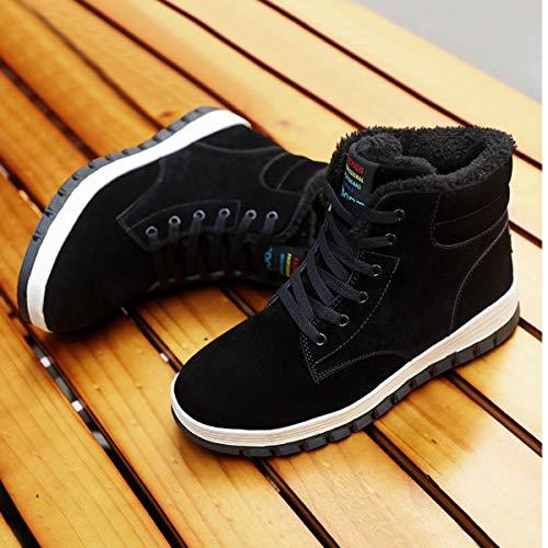 Aliwendy Mens Winter Snow Boots Fur Lined Warm Ankle Booties Waterproof Slip-on Sneakers Lightweight High Top Outdoor Shoes
