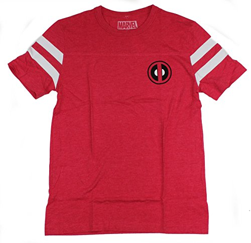 Hybrid Apparel Marvel Comics Deadpool Wilson 91 Varsity Men's Red Charcoal T-Shirt