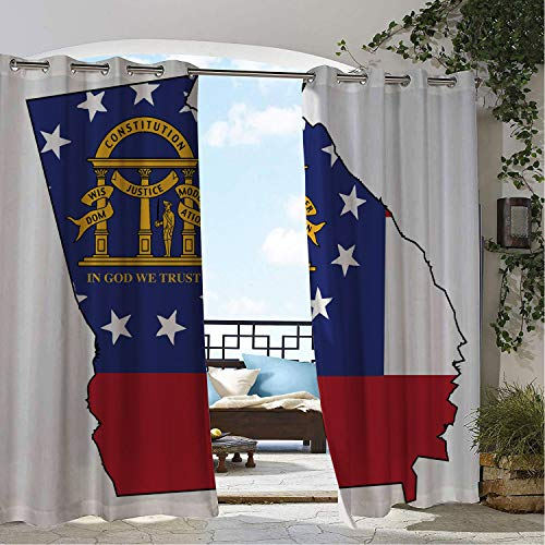 Linhomedecor Gazebo Waterproof Curtains Georgia State Map Outline Flag Peach State Constitution Cobalt Blue Vermilion Earth Yellow and White Porch Grommet Panel Curtain 84 by 84 inch