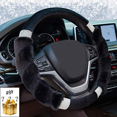 XCBYT Fuzzy Fluffy Steering Wheel Cover – Soft Black Plush with Bling Crystal Warm Hands Universal 15″ Car Interior Accessories for Women (Plush with Bling-Black)