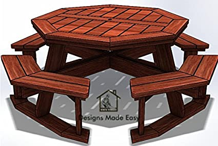 Easy DIY Octagon Picnic Table   Design Plans Instructions For Woodworking 09